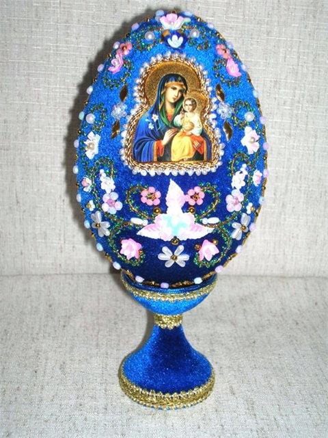 """Яйцо пасхальное ( """"Пресвятая Богородица Неувядаемый цвет """") ."""