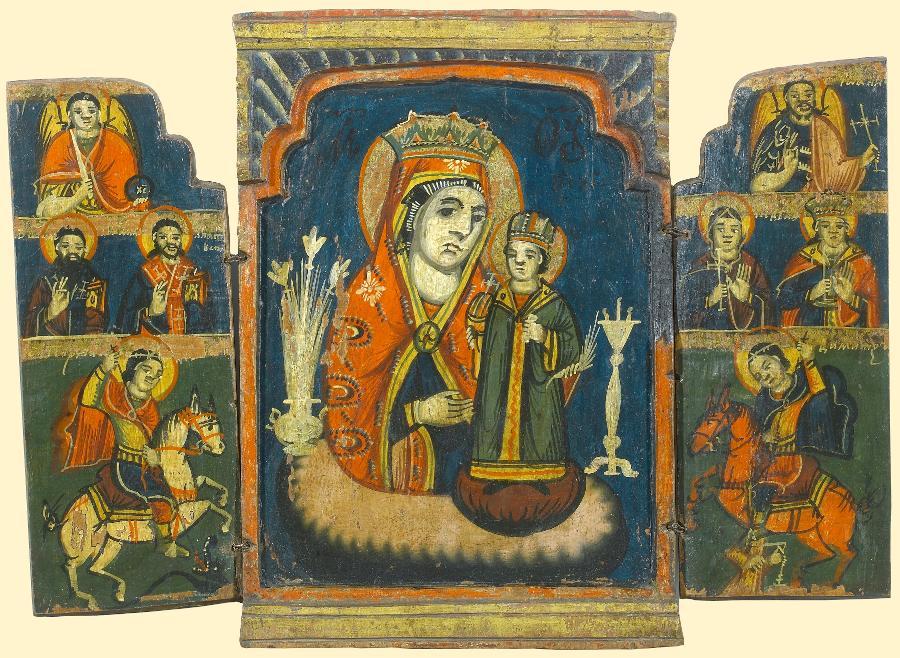 НЕУВЯДАЕМЫЙ ЦВЕТ Складень с архангелами иизбранными святыми на створках Болгария, ок.  1800. Дерево, темпера.