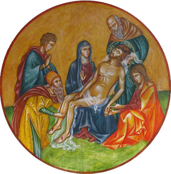 Изображение эпизода Снятия с Креста появляется в христианстве только в IX...