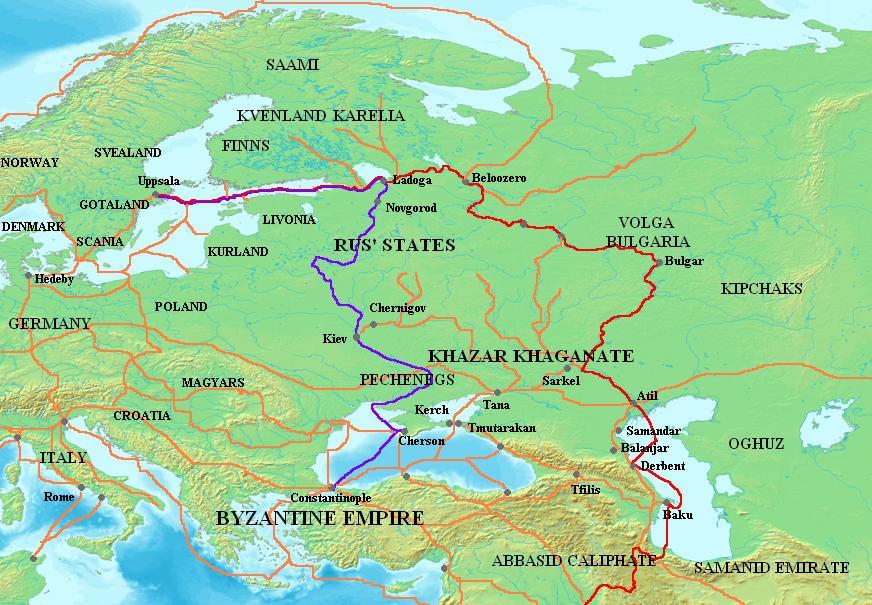 Речные пути Древней Руси волжский путь отмечен красным, днепровский