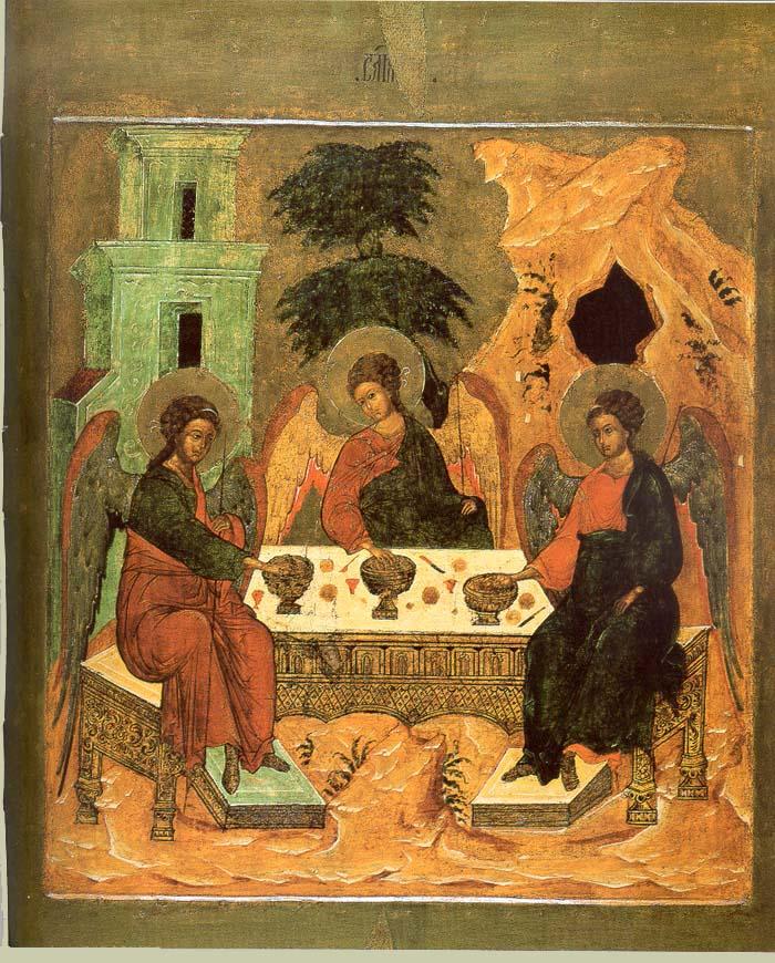 Троица Ветхозаветная Москва. 1626 г. Из праздничного ряда иконостаса церкви Чудо в Хонех Чудова монастыря Московского Кремля.