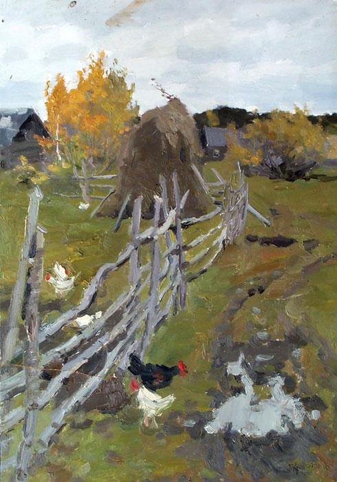 Тарелка Осень в деревне.