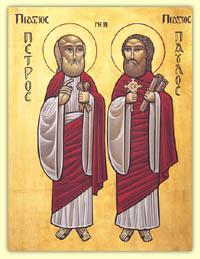 Свв апостолы Петр и Павел.  Современная коптская икона.