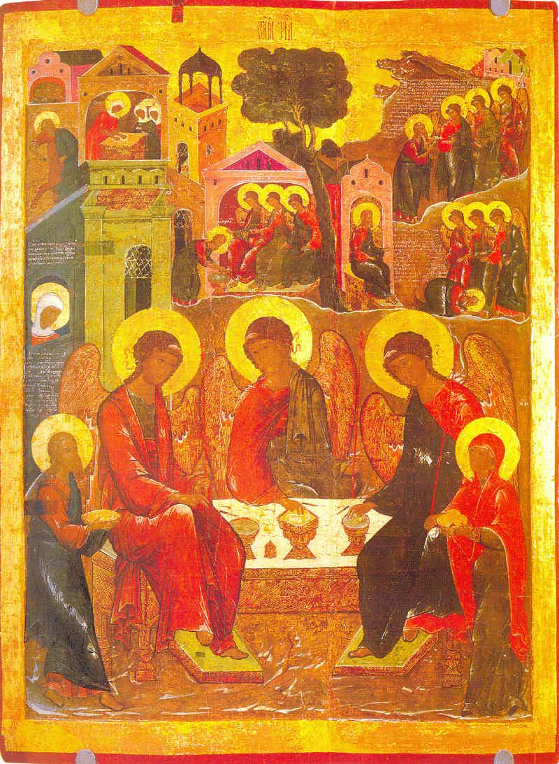 Троица Ветхозаветная, с деяниями Конец XVI века. Москва.