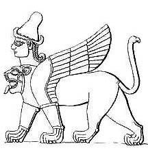 Позднехеттский крылатый лев с головой человека; на голове шапка с двумя рогами; хвост, возможно, имеет голову орла; происходит с рельефа из Кархемыша, X-VII вв. до Р.Х.