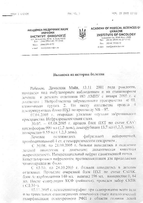Выписка из истории болезни Улица Чкалова трактовка анализа крови