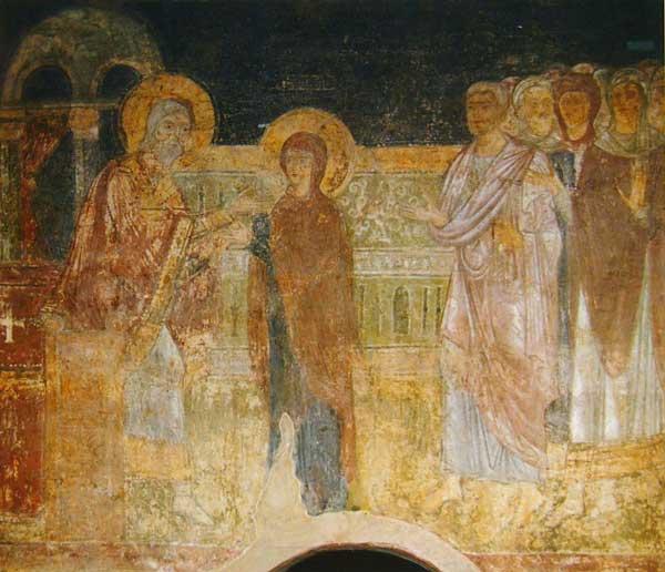 1040-е - начало 1050-х гг. Схема-реконструкция расположения фресок в... Фрески Софийского собора в Киеве.