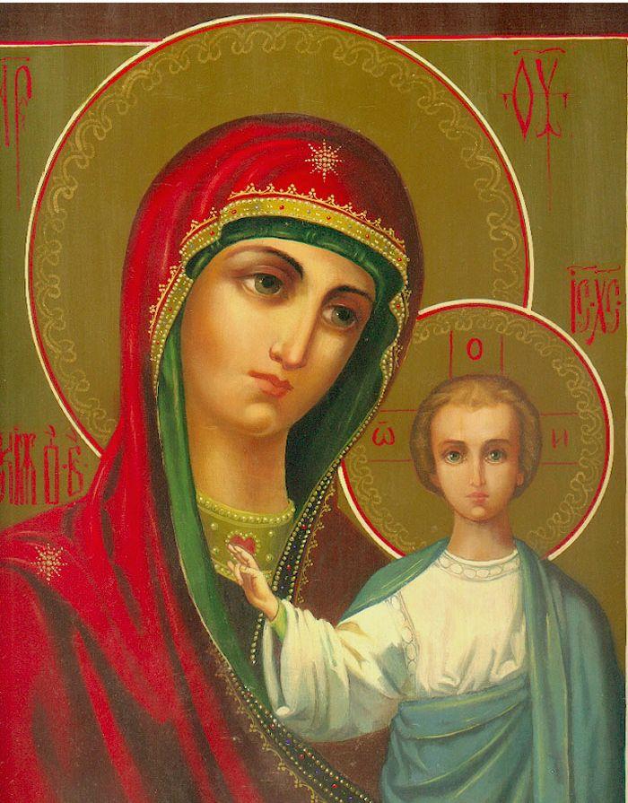 """Схема вышивки  """"Божья матерь казанская """" ."""